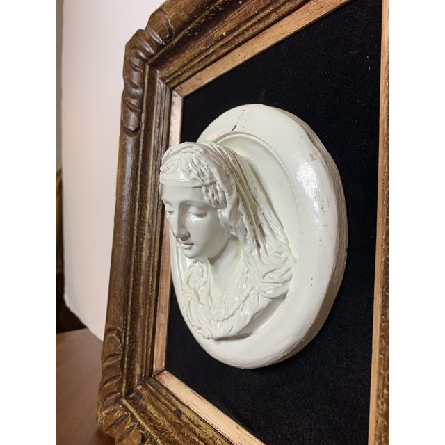 White 19th Century Glazed Chalkware Wall Mounting High Relief Bust Cameos - a Pair For Sale - Image 8 of 13