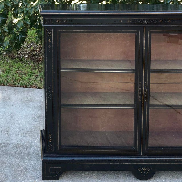 Ebony 19th Century French Napoleon III Period Ebonized Barrister's Bookcase For Sale - Image 8 of 12