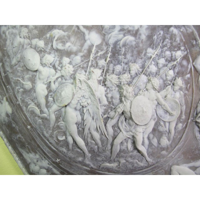 Early 20th Century Milton Cameo Shield Poem Paradise Lost War in Heaven Scene Agate Wall Hanging For Sale - Image 5 of 10