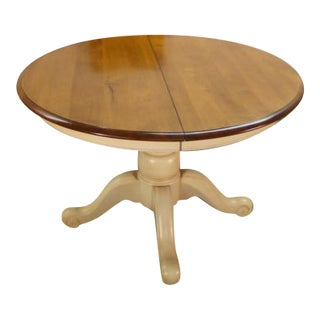 French Ethan Allen Solid Maple Round Dining Table For Sale