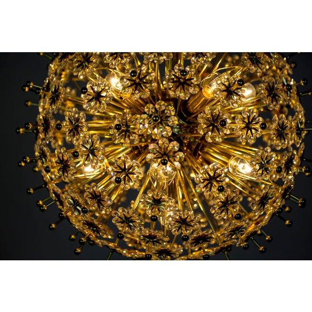 1960s Crystal & Brass Sparkling Sunburst Chandelier (2 Available) For Sale - Image 5 of 10
