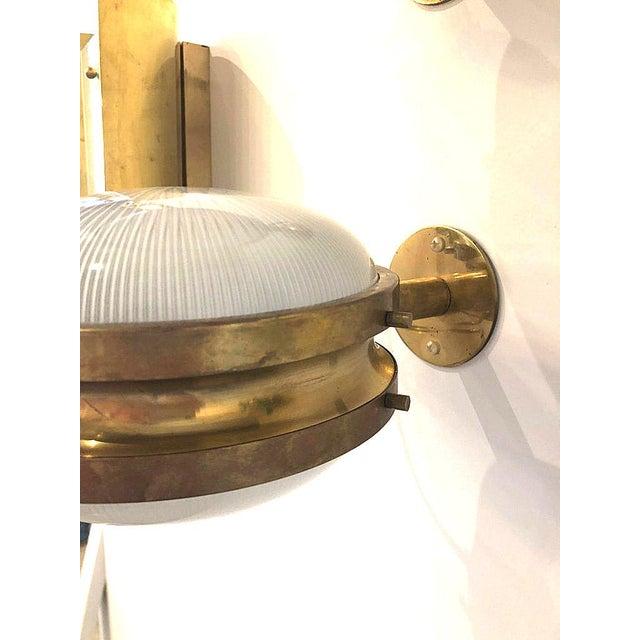 Mediterranean Pair of Mid Century Modern Sergio Mazza 'Gamma' Artemide Brass Sconces For Sale - Image 3 of 11