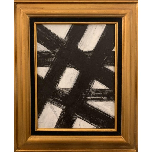 2010s Black and White Franz Kline-Inspired Framed Painting For Sale - Image 5 of 5