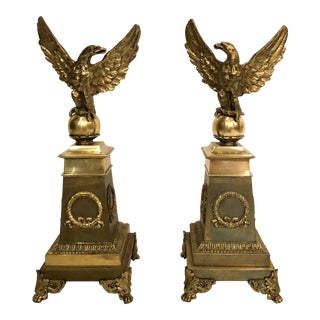 "Pair Antique French Empire ""Eagle"" Andirons, Circa 1870. For Sale"