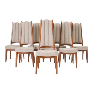 Set of Eight Cal-Mode Walnut Dining Chairs