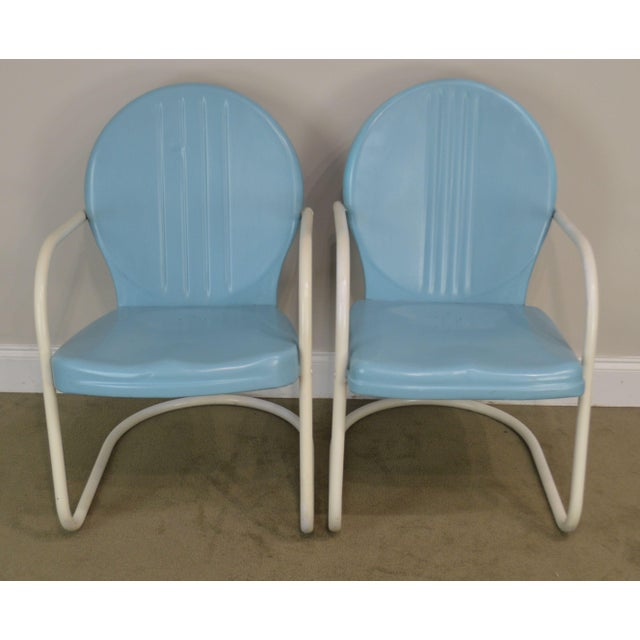 Art Deco Style 1940's Vintage Pair Metal Patio Lawn Chairs For Sale - Image 4 of 13