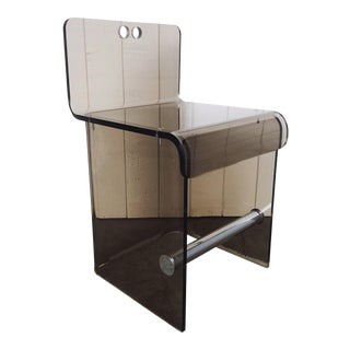 1970's Smoked Lucite and Chrome Side or Vanity Chair For Sale
