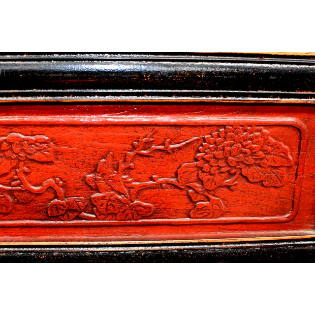 Antique Chinese Red and Black Screens - a Pair For Sale - Image 11 of 13