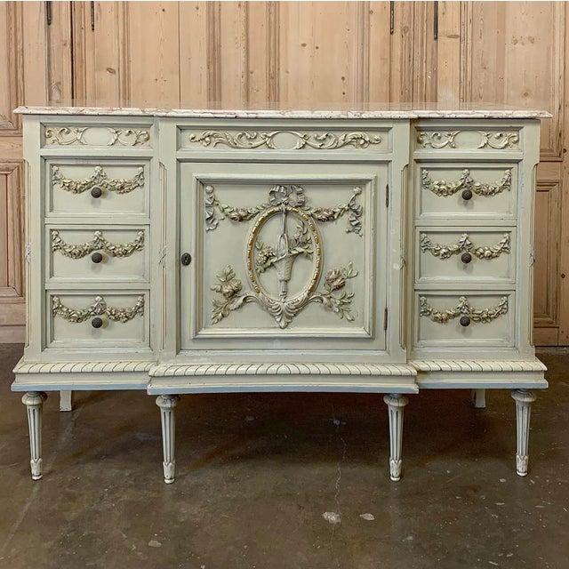 Antique Italian Louis XVI Painted Dresser ~ Linen Press For Sale - Image 13 of 13