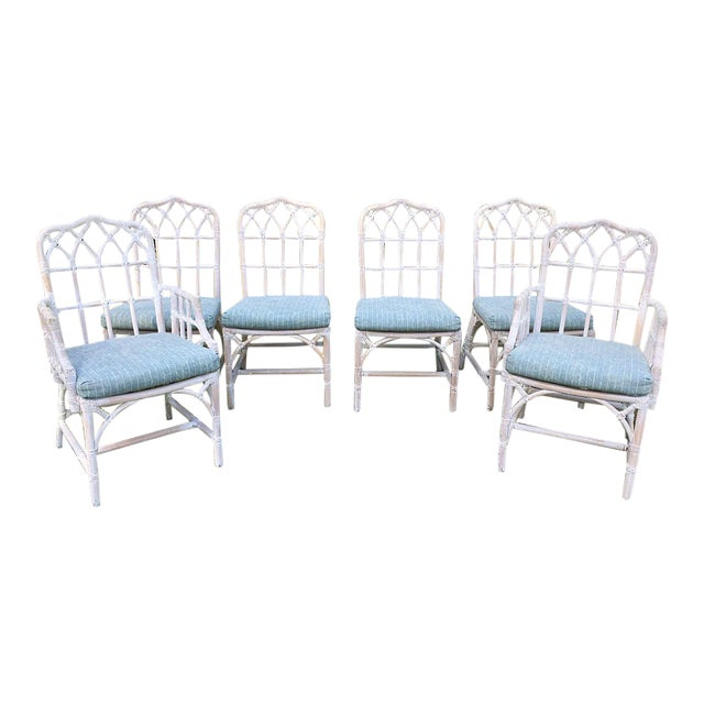 McGuire Bamboo Chinese Chippendale Chairs - Set of 6 For Sale