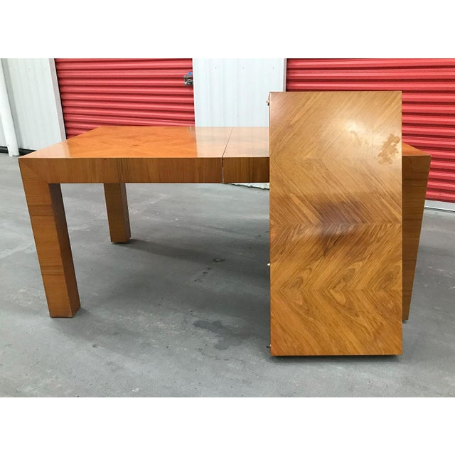 Brown Mid-20th Century Milo Baughman / Thayer Coggin Burl Dining Table For Sale - Image 8 of 12