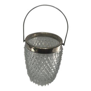 1950s Vintage Cut Glass and Silverplate Ice Bucket For Sale
