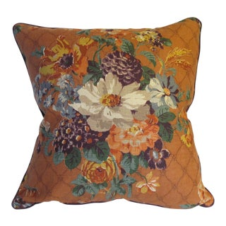 Vintage English Printed Linen Pillow For Sale