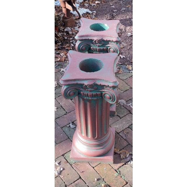 Antique Painted Concrete Corinthian Columns - A Pair For Sale - Image 9 of 10