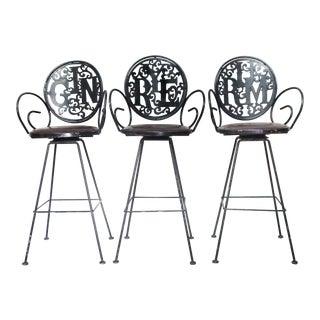 1960s Vintage Arthur Umanoff Shaver Howard Wrought Iron Barstools - Set of 3 For Sale