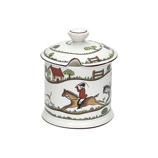 Crown Staffordshire Fox Hunt Scene Jam / Preserves Pot For Sale