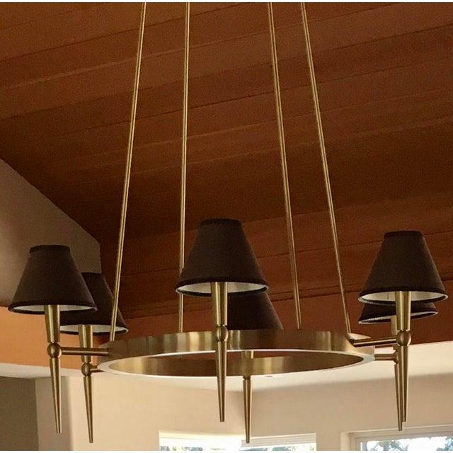2000 - 2009 Boyd Lighting Brushed Brass Modern Wagon Wheel 6 Light Chandelier For Sale - Image 5 of 5
