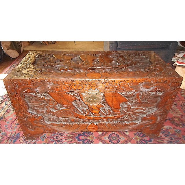 Wood Antique Original Hand Carved Mahogany Chest/Coffee Table-Camphorwood Lined For Sale - Image 7 of 10