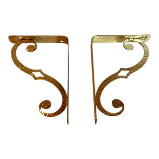 Vintage Gold Metal Shelf Brackets - a Pair For Sale