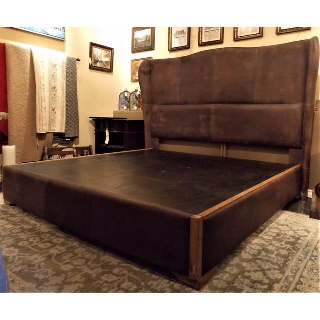 """Dax leather King size platform bed frame by Taracea. Headboard measures 65"""" H, and the platform measures 14"""" H. The..."""