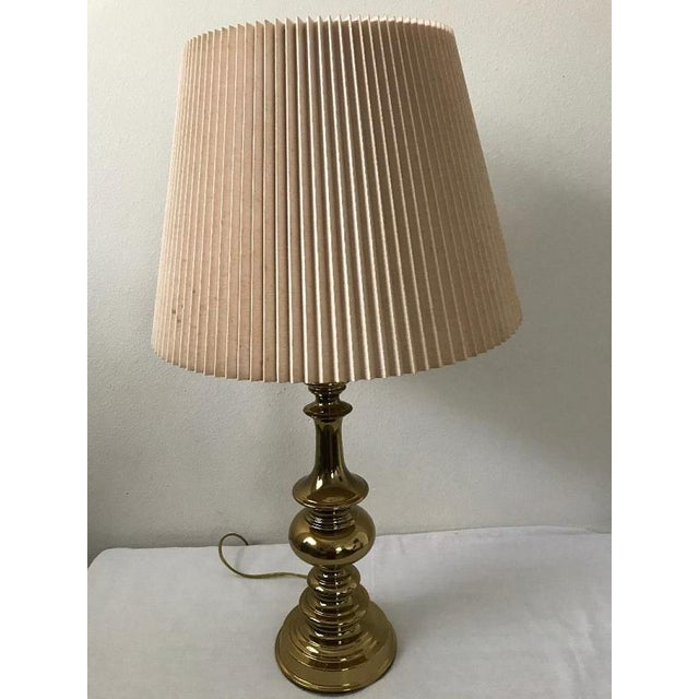 Stiffel Style Heavy Brass Table Lamp With Pleated Shade For Sale In Tampa - Image 6 of 7