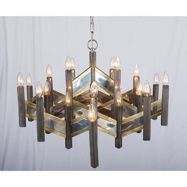 Brass Italian Chrome and Brass Chevron Chandelier with 21 Lights by Gaetano Sciolari, 1966 For Sale - Image 7 of 11