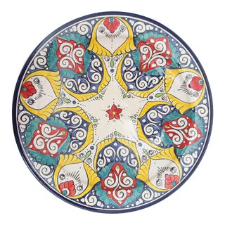 Atlas Moroccan Floral Pedestal Plate For Sale