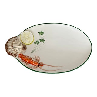Vintage Trompe L'oeil Shrimp Seafood Plate Made in Italy For Sale