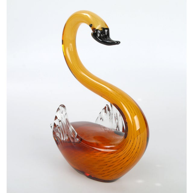 Murano Glass Amber & Yellow Swan - Image 4 of 10