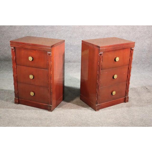 Cinnamon Pair of John Stuart Hollywood Regency Mahogany Nightstands Night Tables For Sale - Image 8 of 10