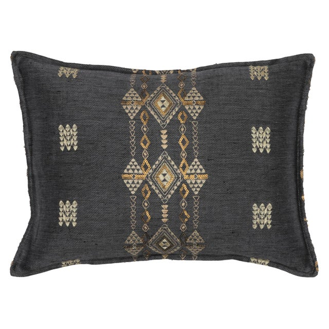 Boho Chic Berber Pyrite Slate Pillow For Sale - Image 4 of 4