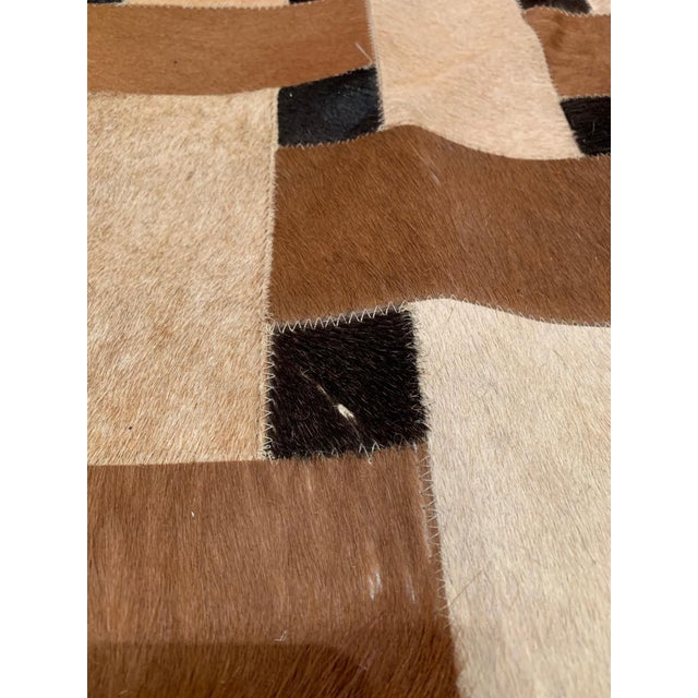 Geometric Patchwork Cowhide Area Rug For Sale - Image 10 of 13