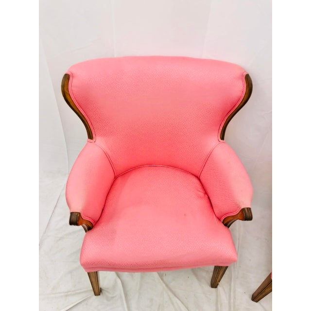Wood Pair Vintage Mid Century Modern Arm Chairs With Pink Upholstery For Sale - Image 7 of 10