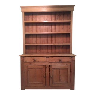 Antique English White Pine Hutch Cabinet