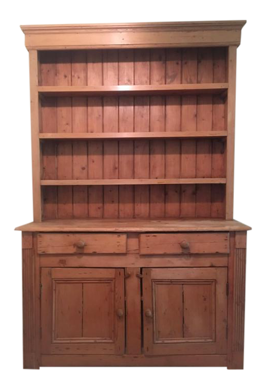 Elegant Antique English White Pine Hutch Cabinet For Sale