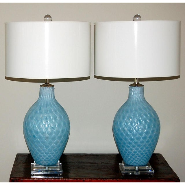 Hollywood Regency Galliano Ferro Vintage Murano Glass Table Lamps Blue For Sale - Image 3 of 9
