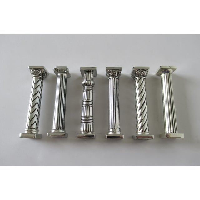 Americana Silver Plate Column-Shaped Knife Rests - Set of 6 For Sale - Image 3 of 13
