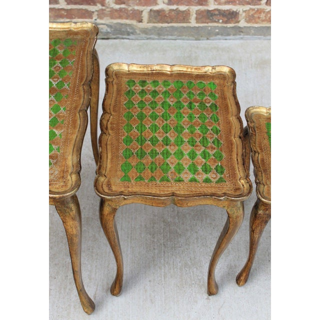 Metal Vintage Italian Gold & Green Tole Nesting Tables Gilt Florentine Set of 3 For Sale - Image 7 of 13