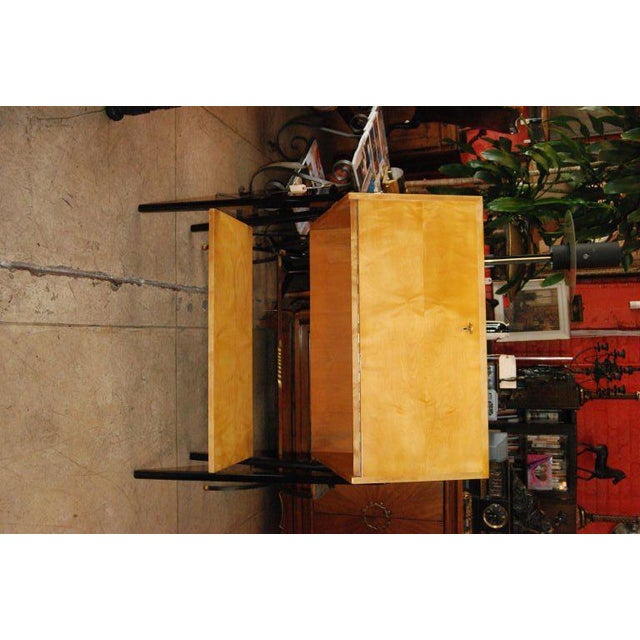 """1950s Sycamore and black lacquer finish desk designed by Alfred Hendrickz Depth when open 30""""."""