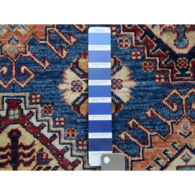 Blue Hand Knotted Blue Kazak Wool Rug For Sale - Image 8 of 13