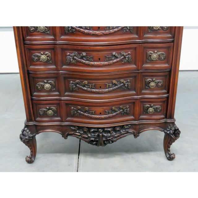 Louis XV style 5 drawer marble top dresser.