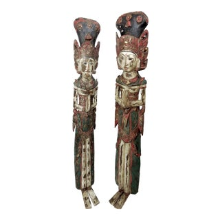 Large Antique Asian Wood Wall Hanging Figures, Polychrome Javanese Female Deities - a Pair For Sale