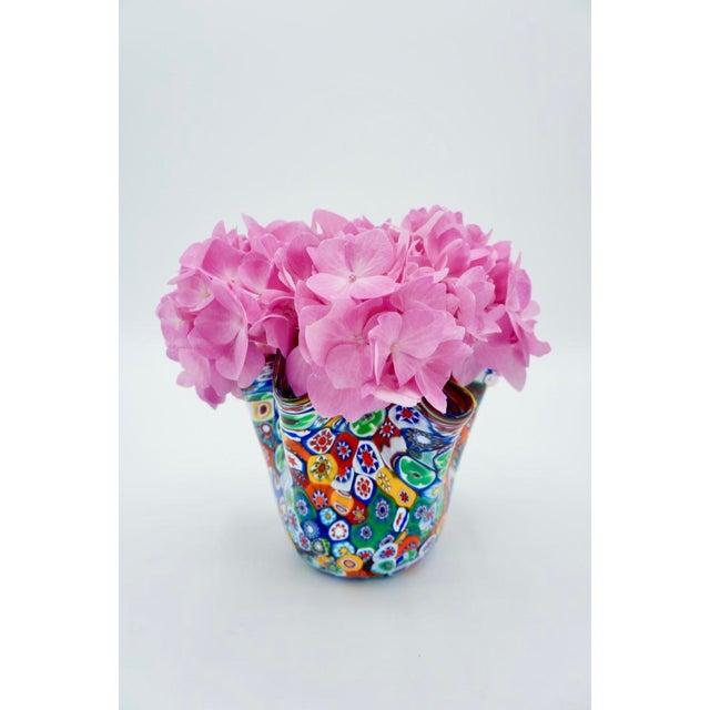 Blue Vintage Murano Multicolored Millefiori Handkerchief Vase For Sale - Image 8 of 10