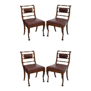 Set of Four Italian Empire Walnut Sidechairs, Early 19th Century For Sale