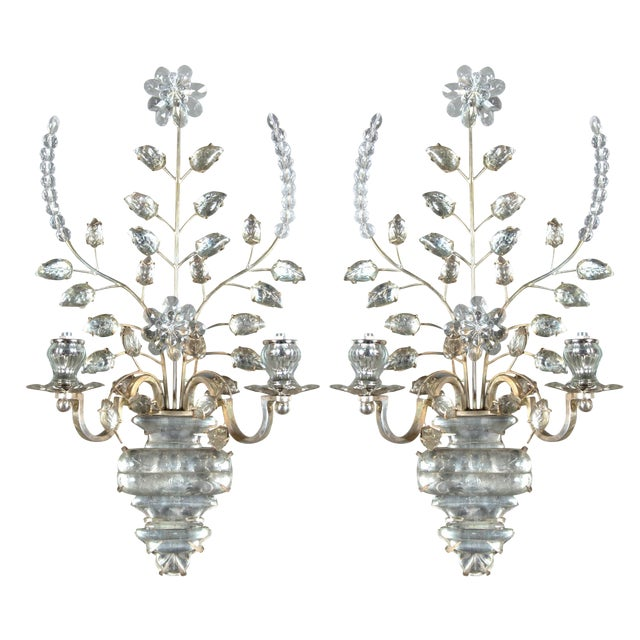 1930s French Silver Plated Sconces - a Pair For Sale