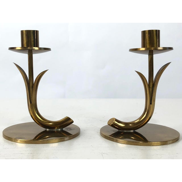 1950's Ystad Metall Brass Candleholders by Gunnar Ander - a Pair For Sale - Image 9 of 9