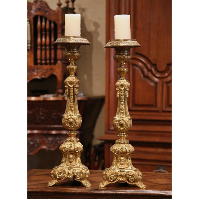 Mid 19th Century 19th Century French Brass Gilded Repousse Pic-Cierges Candleholders - a Pair For Sale - Image 5 of 8