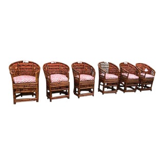 1960s Vintage Burnt Bamboo Chippendale Style Brighton Chairs - 6 Available For Sale