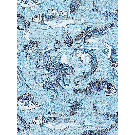 Traditional Sample, Scalamandre Mikonos Wallpaper, Blue For Sale - Image 3 of 3