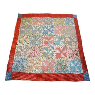 Mid-20th Century Boho Chic Handmade Cotton Quilt For Sale